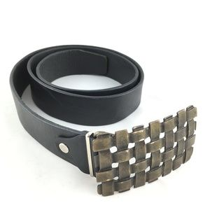 Other - Black leather belt woven metal buckle pin 38-40